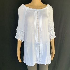 Forever 21 Flowy Tunic Top With Elastic Neck, Sz M